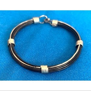 """Sterling Silver and leather bracelet 8.5"""" length"""
